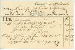 1840 WÄDENSWIL ZH Fuhrmannsbrief Nach Schwyz J.J. STRÄULI Zum SONNENBERG An Dusser Schweiz - Switzerland
