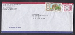 Saudi Arabia: Airmail Cover To Netherlands, 1987, 2 Stamps, Building, Heraldry (minor Creases) - Saoedi-Arabië