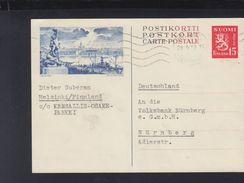 Finland Stationery Helsinki 1952 To Germany - Ganzsachen