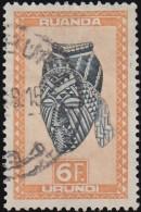 RUANDA-URUNDI - Scott #105 Ngadimuashi Female Mask / Used Stamp - Ruanda-Urundi