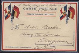 Guerre 14 CP Correspondance Militaire Drapeaux France Angleterre Belgique Russie Franchise Janvier 1915 Edit Privée - Marcophilie (Lettres)