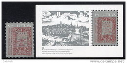 LITHUANIA 1997 First Lithuanian Book Stamp And Block MNH / ** . Michel 630, Block 9 - Lithuania