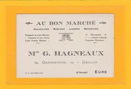 GAILLON (27) - CARTE DE VISITE - Au Bon Marché - Mme G. HAGNEAUX 19, Grande Rue GAILLON - Cartes De Visite