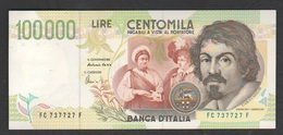 100000 100.000 Lire 1995 Caravaggio II° Tipo Repubblica Italiana - [ 2] 1946-… : Républic
