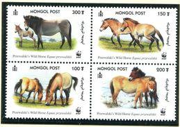 Mongolia 2000 Endangered Przewalski's Wild Horse Set Of 4 MNH - W.W.F.