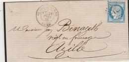 Yvert 60A Cérès Lettre Entête Robert CARCASSONNE Aude 21/3/1876 Pour Azille - Postmark Collection (Covers)