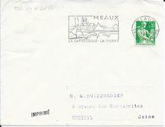 SEINE ET MARNE 77  -  MEAUX   -  FLAMME N° 1741   -  MEAUX / LA CATEDRALE / LA MARNE  - 1960 - - Postmark Collection (Covers)