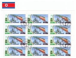 Corée Du Nord 1989 - Oblitéré - Trains - Feuillet Michel Nr. 3065 X 12 (prk359) - Corée Du Nord