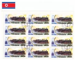 Corée Du Nord 1989 - Oblitéré - Trains - Feuillet Michel Nr. 3068 X 12 (prk362) - Corée Du Nord
