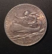 CITTA' DEL VATICANO - 5 LIRE GIUBILEO - IUB 1933/1934 - QUALITA' Q/FDC - NON PULITA - ARGENTO - Vaticano
