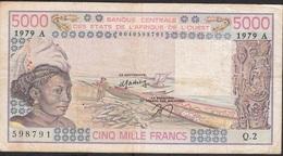 W.A.S. IVORY COAST P108Ac 5000 FRANCS 1979 VF NO P.h. ! - Côte D'Ivoire