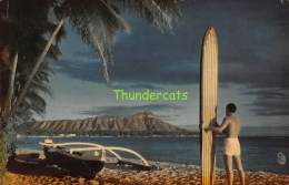 CPSM OUTRIGGER AND DIAMOND HEAD HAWAII SURFER SURFING - Big Island Of Hawaii