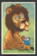 +++  CPA - Carte Fantaisie - Lion - Chasseur - Yeux Changeants   // - Lions
