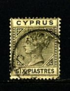 CYPRUS - 1882   6  PIASTRES  Plate 1  FINE USED - Cipro (...-1960)