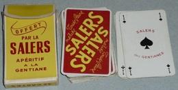 Rare Vintage Jeu De Cartes SALERS Apéritif à La Gentiane En Boite, Gentianes - 32 Cartes