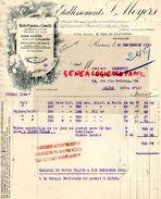 51- REIMS- FACTURE ETS. ML. MEYERS- BOITES PLISSES ET CORNETS BAPTEME MARIAGE- 47 RUE COURCELLES-1930 CARTONNAGE - Old Professions