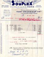 72- LE MANS- FACTURE CASQUETTE SOUPLEX-VISIERE ACIER D.G. PARIS-BERET BASQUE EL MIRANDA-MAISON FOUCAULT-1954 - Textile & Clothing