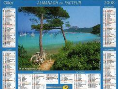 Calendrier Almanach La Poste 2008 PTT Ile De Porquerolles Var (83) - Calendars