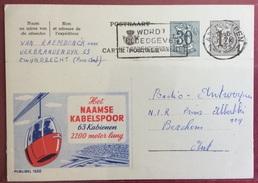 TRASPORTI BELGIO  CARTOLINA POSTALE PUBBLICITARIA NAAME KABELSPOOR CON FUNIVIA OVOVIA   VIAGGIATA NEL 1958 - Cartoline