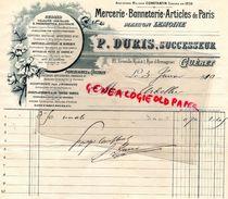 23- GUERET- RARE FACTURE MAISON LEMOINE-P. DURIS- MERCERIE BONNETERIE-21 GRANDE RUE -1 RUE ARMAGNAC- 1910 - Old Professions