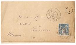 TARIF FRONTALIER, BAVAY Nord Pour FRAMERIES Belgique Sur LAC Au Type SAGE. 3 SCANS. - Postmark Collection (Covers)