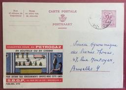 TRASPORTI BELGIO  CARTOLINA POSTALE PUBBLICITARIA PETROGAZ  CON CISTERNA CHE FA RIFORNIMENTOP  VIAGGIATA NEL 1958 - Altri