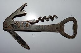 Outil Ancien - Couteau Multifonctions - Lame, Tire-bouchon, Décapsuleur - Tools