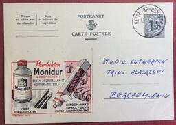 TRASPORTI  BELGIO CARTOLINA POSTALE PUBBLICITARIA MONIDUR PER LUCIDARE LE MACCHINE....VIAGGIATA 1958 - Cartoline