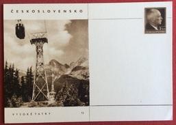TRASPORTI  CECOSLOVACCHIA CRTOLINA POSTALE  PUBBLICITARIA CON FUNIVIA  CON CABINA - Cartoline