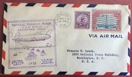 TRASPORTI  U.s.a. LAKEHURST.N.J. 1932  TACTICAL TRAINING FLIGHT U.S.S.CARRYING MAIL CON 3c.OLIMPIADI + P.A. 5 C.1932 - Cartoline