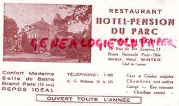 68- ALTKIRCH- RARE CARTE RESTAURANT HOTEL PENSION DU PARC-21 RUE DU 3E ZOUAVE-DIRECTEUR PAUL WINTER - Old Professions