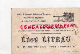 72- LA MARE PINEAU PRES BONNETABLE- RARE CARTE LEON LITEAU-ACHAT VENTE VOITURES OCCASIONS-CHARRETTES ANGLAISES- - Artesanos