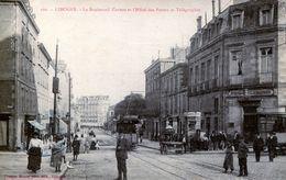 87. HAUTE-VIENNE - LIMOGES. Boulevard Carnot, L'Hôtel Des Postes Et Télégraphes. BPlan, Tramways Et Attelage. - Limoges