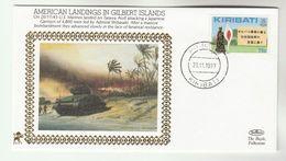 1993 KIRIBATI  Very Ltd EDITION COVER Anniv US MARINES LAND In GILBERT ISLANDS WWII Event  Stamps Tank  Forces - Kiribati (1979-...)