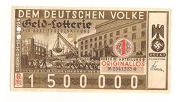 Loterie Ticket Issued In 1934 With NSDAP Eagle - Deutschland