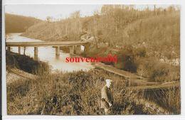 50 - Environs Ducey - Carte Photo -vallée Du Lait (sélune) 1 Ier Pont Et Vieux Pont ,débardeur, 1 Février 1932 - Ttb - - Autres Communes