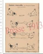 Presse 1913 Humour Basse-cour Poules Cherchant Des Vers Et éventail / Poule Poultry Benjamin Rabier 216PF15 - Vieux Papiers
