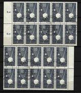 DDR - Mi-Nr. 603 - X 2 Zehnerblock - Internationales Geophysikalisches Jahregestempelt - Zusammendrucke