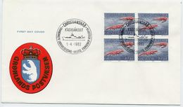 GREENLAND 1982 Shrimps 10 Kr. Definitive Block Of 4 On FDC.  Michel  133 - FDC