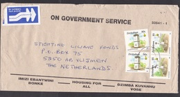Zimbabwe: Official Airmail Cover To Netherlands, 4 Stamps, Toposcope, Watchtower, Label, Housing For All (traces Of Use) - Zimbabwe (1980-...)