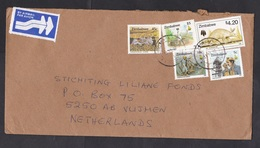 Zimbabwe: Airmail Cover To Netherlands, 1998, 5 Stamps, Animal, Toposcope, Mining, Air Label (roughly Opened) - Zimbabwe (1980-...)