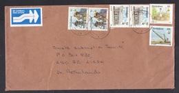 Zimbabwe: Airmail Cover To Netherlands, 1996, 6 Stamps, Toposcope, Mining, Crane, Cecil House, Air Label (minor Damage) - Zimbabwe (1980-...)