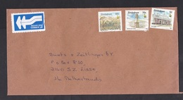 Zimbabwe: Airmail Cover To Netherlands, 1997, 3 Stamps, Mining, Cecil House, Tower, Air Label (middle Stamp Damaged) - Zimbabwe (1980-...)