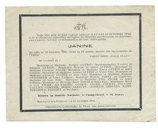 FAIRE-PART AVIS De DECES MEMENTO.. Janine GUERIN, Décédée à MONTILLY Sur NOIREAU (61) En 1944 à 13 Ans - Décès