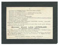 FAIRE-PART AVIS De DECES MEMENTO..Vve LEPERLIER Née Henriette CHOLET Décédée à MONTILLY Sur NOIREAU (61) à 62 Ans - Décès