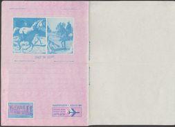 Égypte 1964. Aérogramme Touristique. Timbre Aérien Abou Simbel, Statues De Ramses II Et Nefertari. Chevaux - Horses
