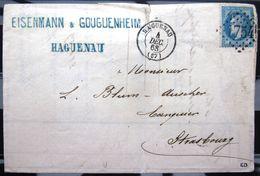 Cachet Type 15 + GC 1754  -  HAGUENAU  -  BAS RHIN  -  LAC - 1868 - Postmark Collection (Covers)