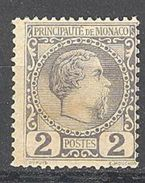 Monaco: Yvert N° 2*; Pli De Gomme Cote 82.00 - Monaco