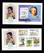 Honduras: 2x FDC First Day Cover, 1979, 5 Stamps, Souvenir Sheet, Year Of Child, Painting Dürer (white Tape At Back) - Honduras