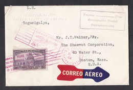 Honduras: Airmail Cover To USA 1931, Special Diplomatic Rate, Arrow Label, Legation USA, Convention (traces Of Use) - Honduras